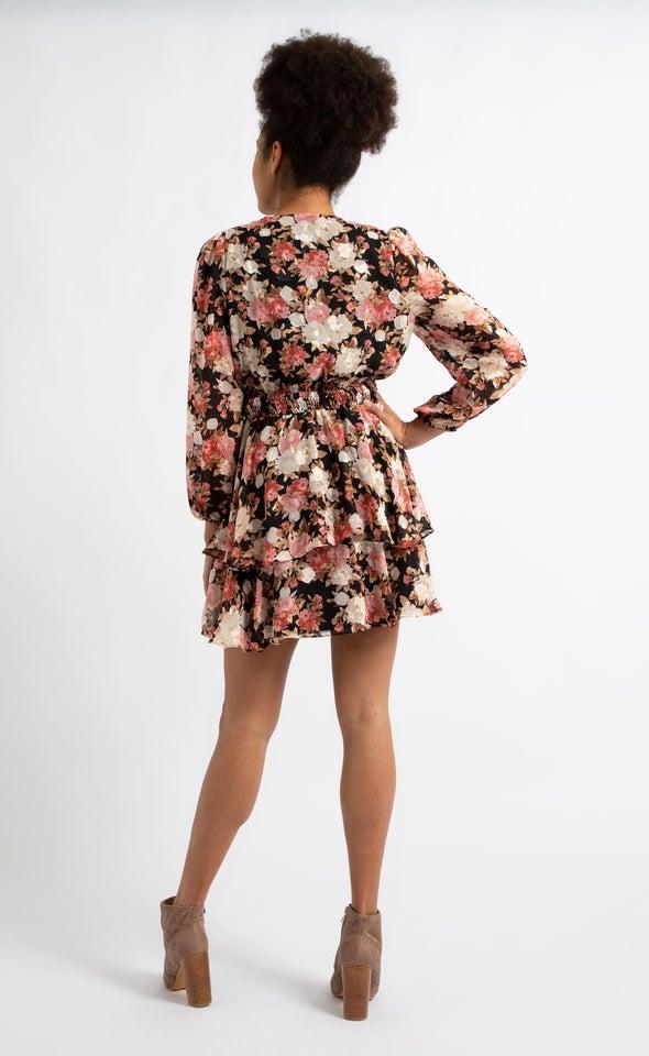 Chiffon Shirred Waist LS Dress Black/pink
