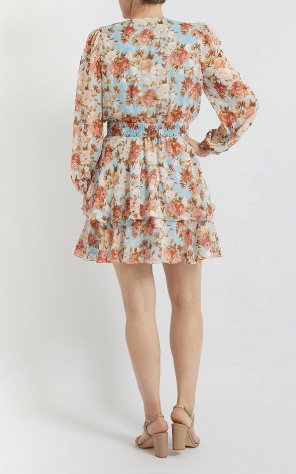 Chiffon Shirred Waist LS Dress Blue/floral