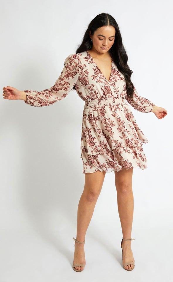 Chiffon Shirred Waist LS Dress Blush/maroon