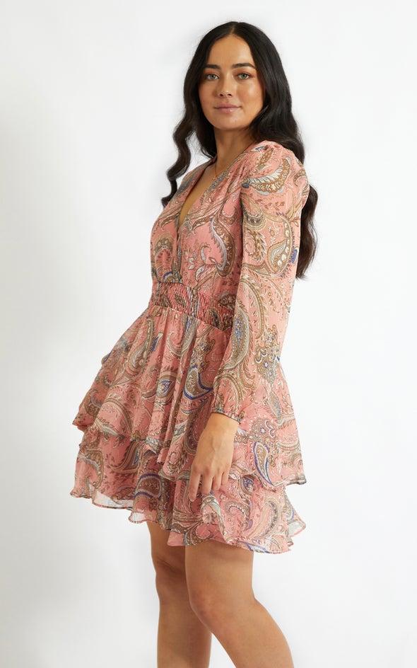 Chiffon Shirred Waist LS Dress Coral/paisley