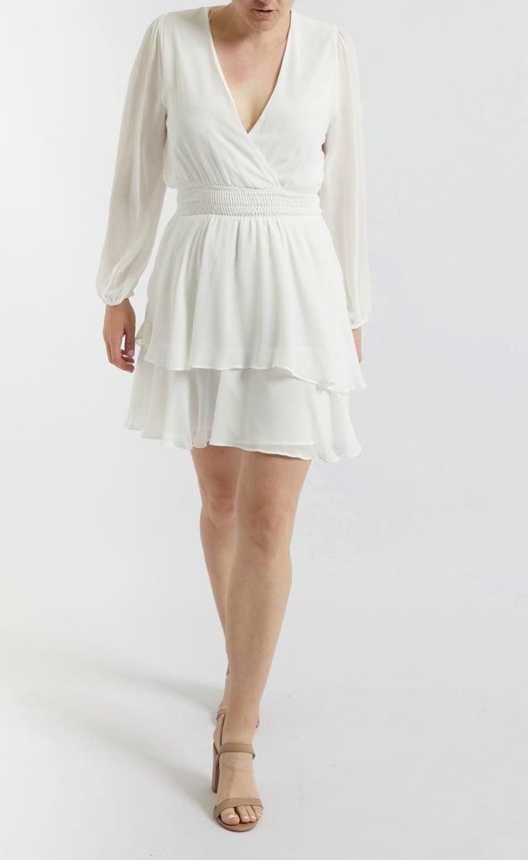 Chiffon Shirred Waist LS Dress Cream