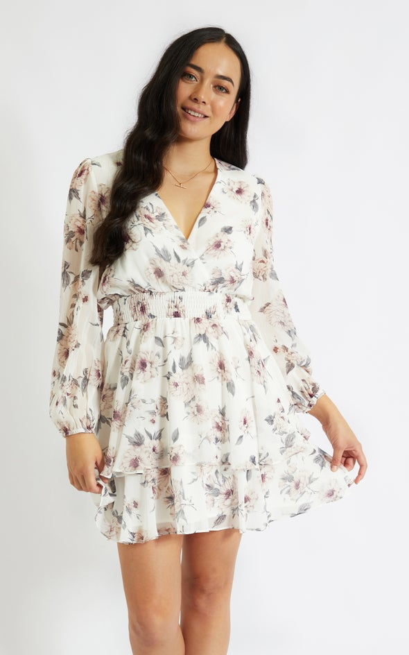 Chiffon Shirred Waist LS Dress Cream/floral