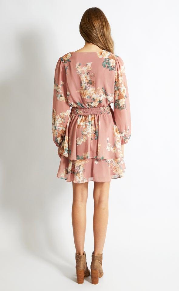 Chiffon Shirred Waist LS Dress Dusky/floral