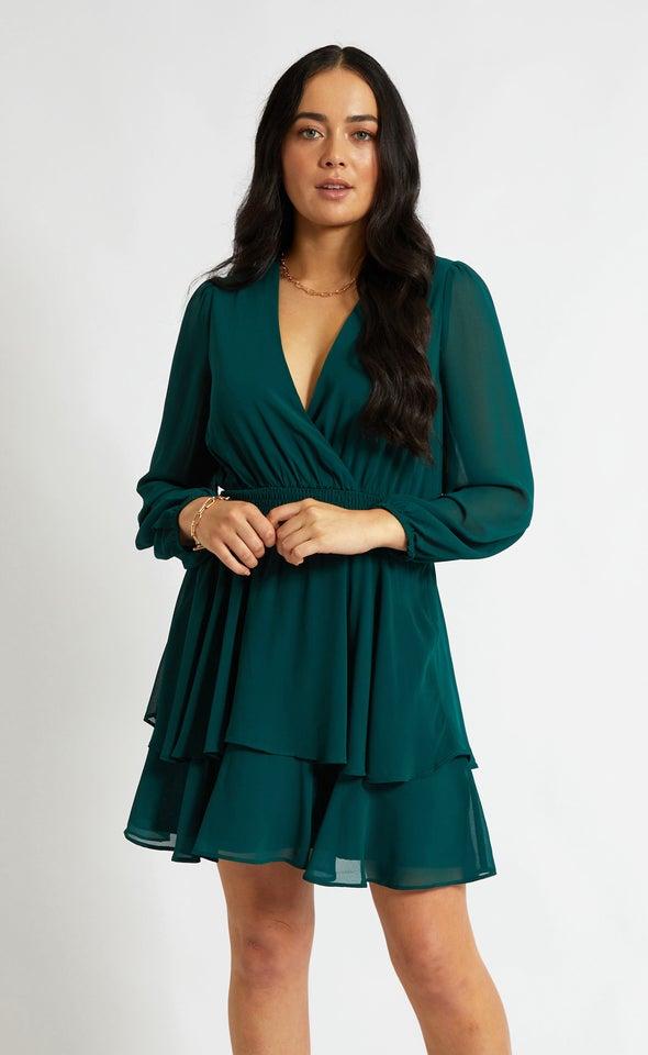 Chiffon Shirred Waist LS Dress Emerald