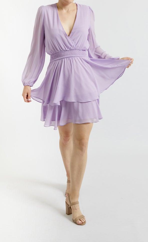 Chiffon Shirred Waist LS Dress Lilac