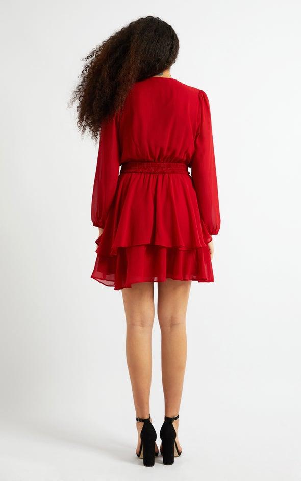 Chiffon Shirred Waist LS Dress Red Wine