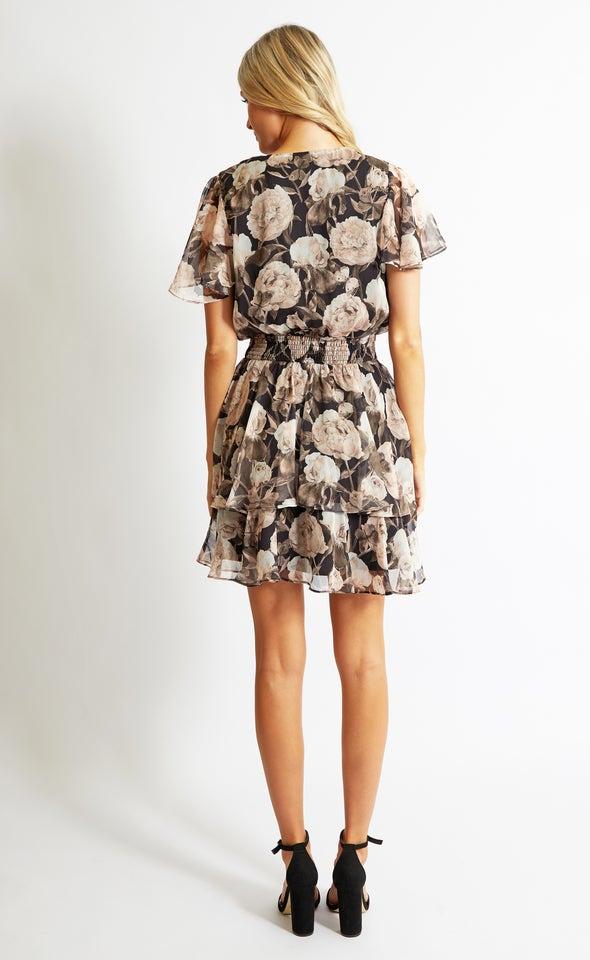 Chiffon Shirred Waist SS Dress Black/floral