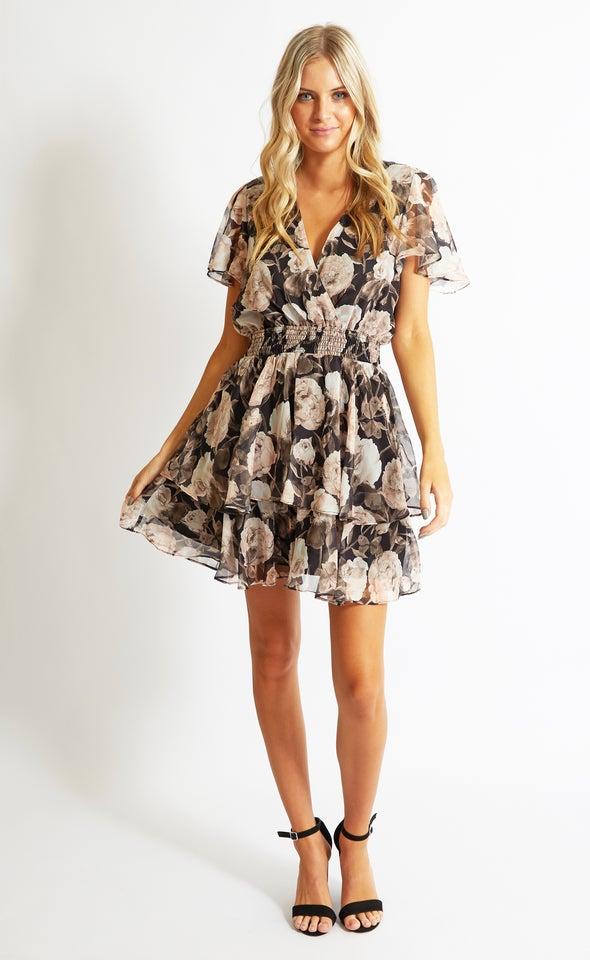 Chiffon Shirred Waist SS Dress