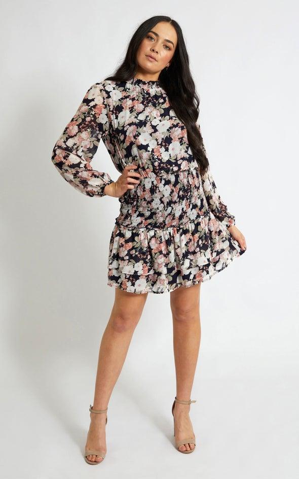Chiffon Shirring Detail LS Dress Navy/floral
