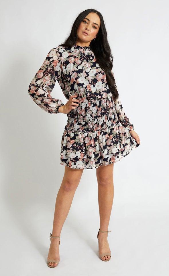 Chiffon Shirring Detail LS Dress