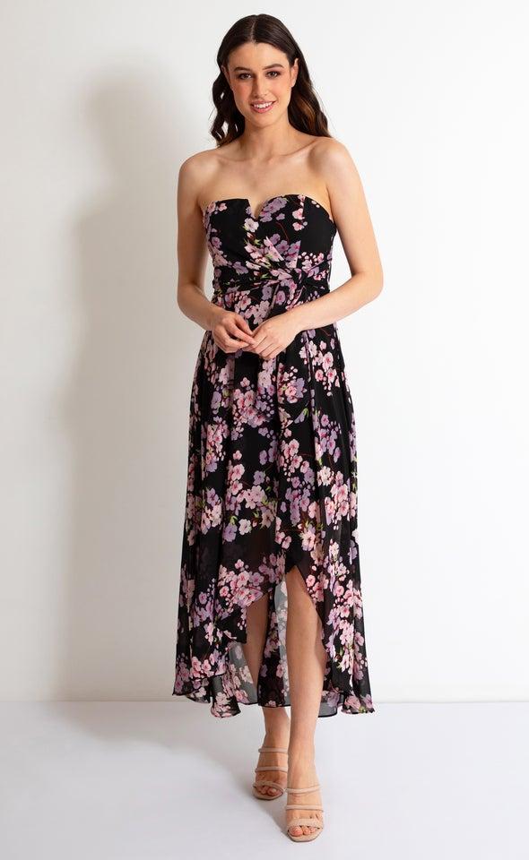 Chiffon Strapless Tie Detail Maxi Black/pink