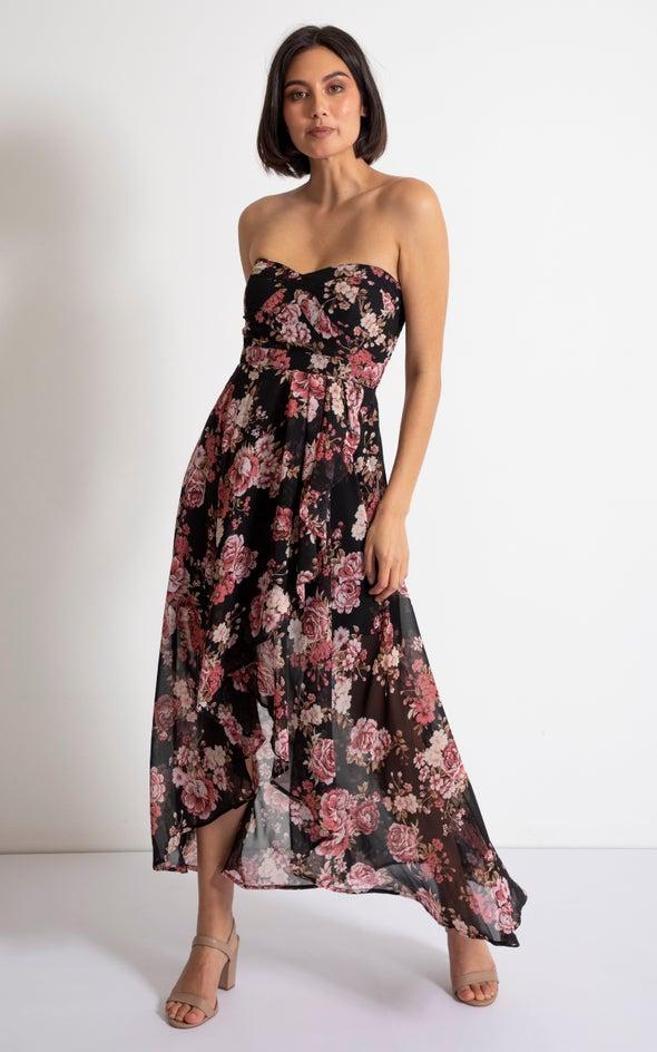 Chiffon Sweetheart Fishtail Dress Black/pink
