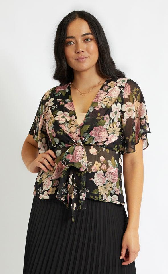Chiffon Tie Front Flutter Top Black/floral
