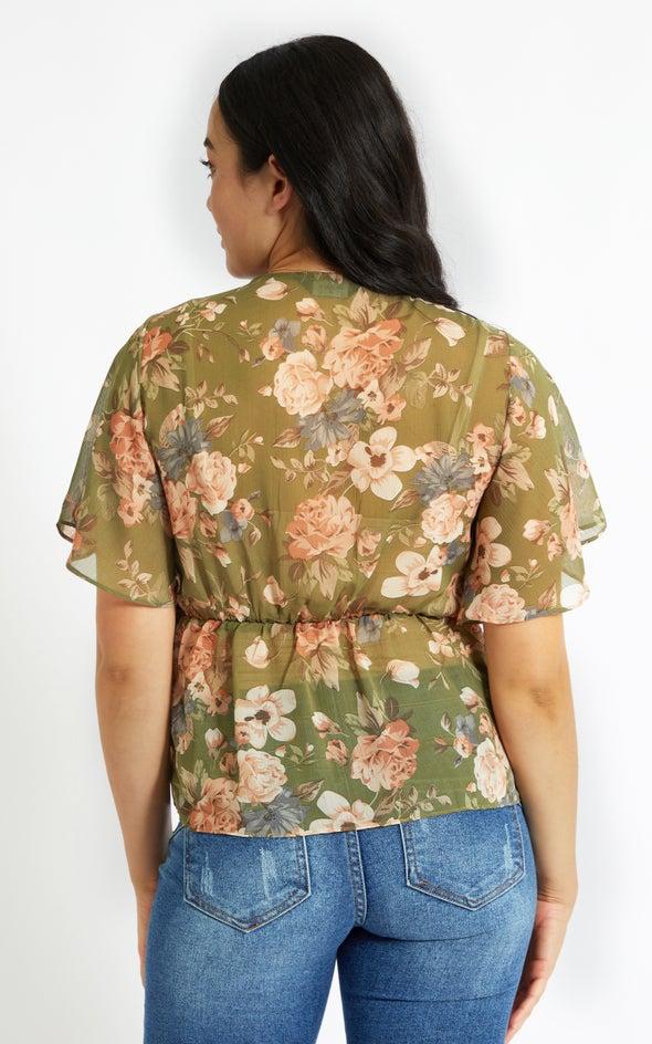 Chiffon Tie Front Flutter Top Khaki/floral