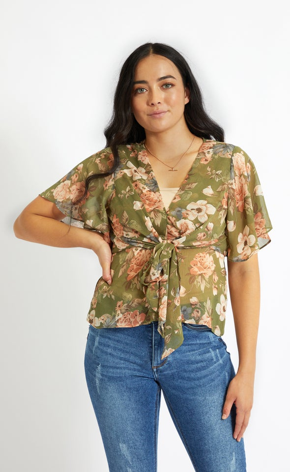 Chiffon Tie Front Flutter Top