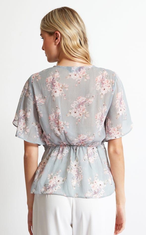 Chiffon Tie Front Flutter Top Mint/floral