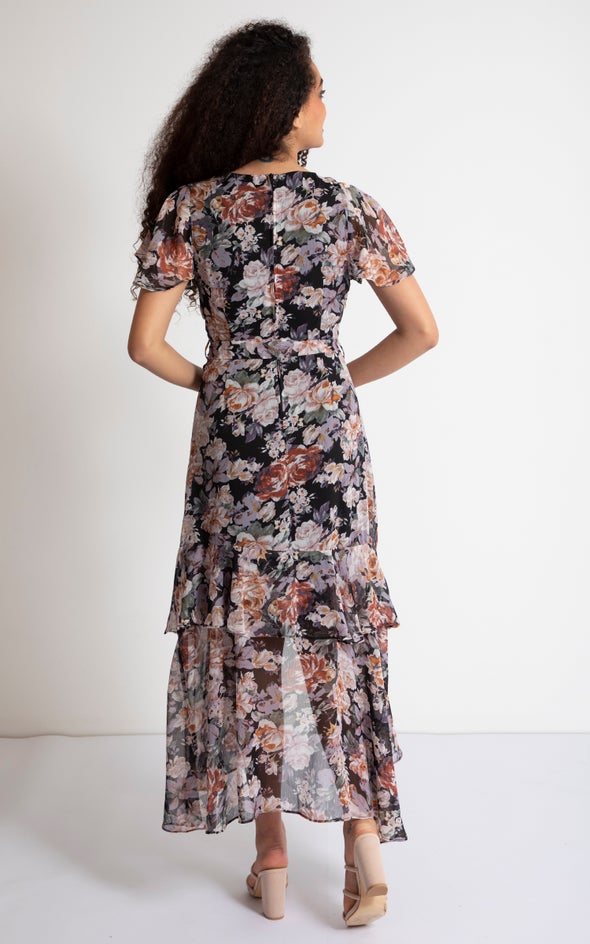Chiffon Tier Ruffle Wrap Maxi Black/floral