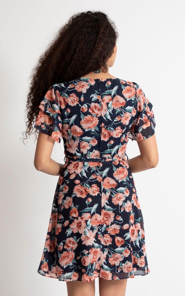 Chiffon Tier Sleeve Skater Dress Navy/peach