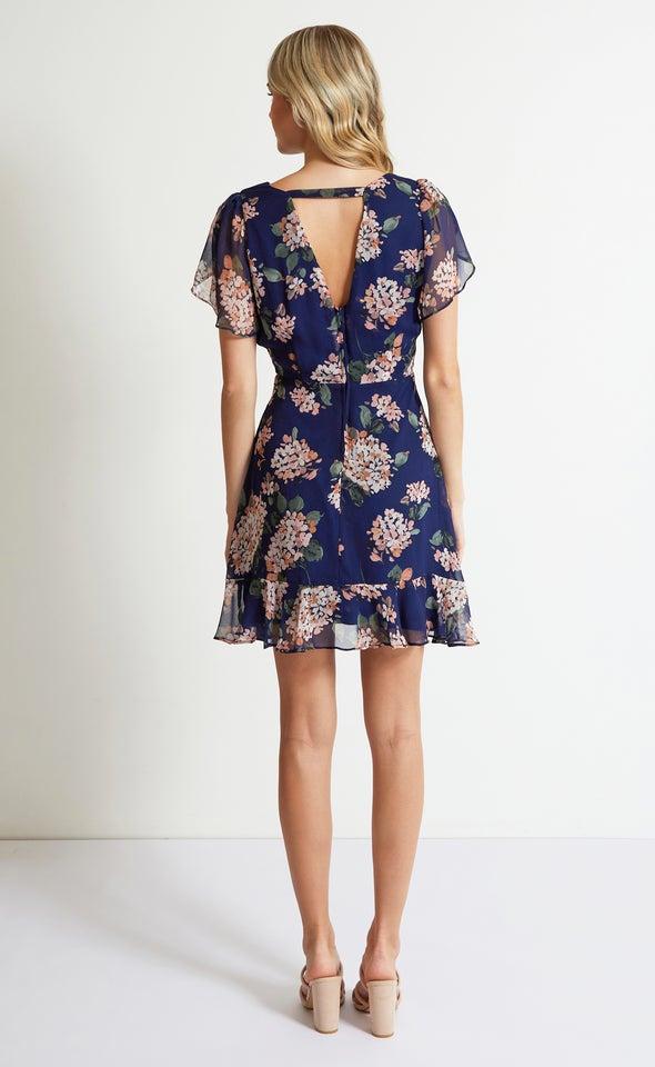 Chiffon Tulip Sleeve Skater Dress Navy/floral