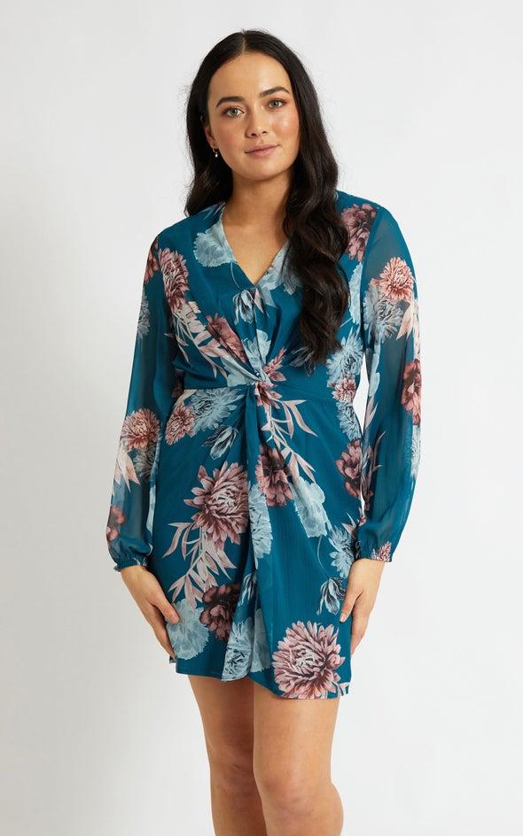 Chiffon Twist Detail LS Dress Teal/floral