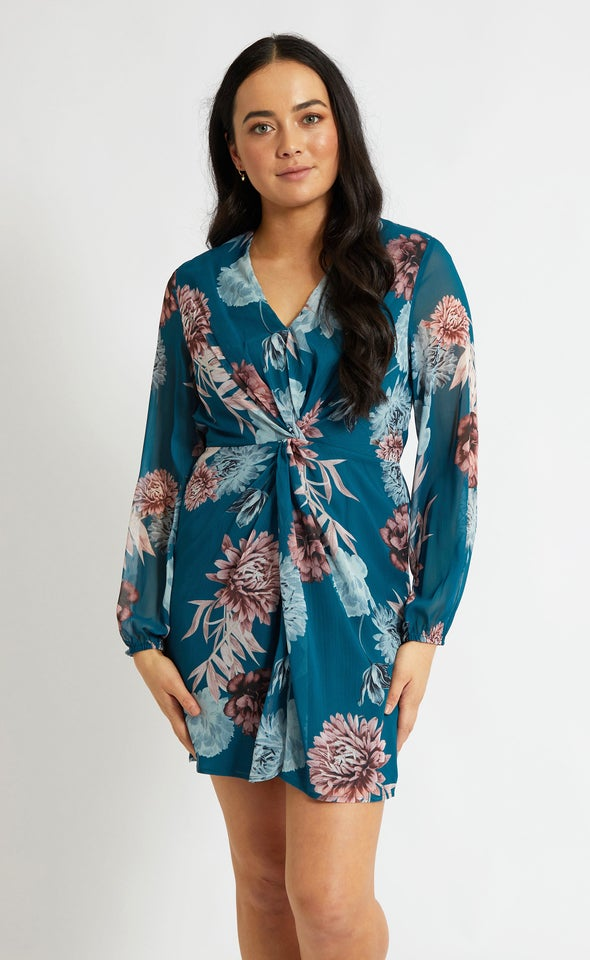 Chiffon Twist Detail LS Dress