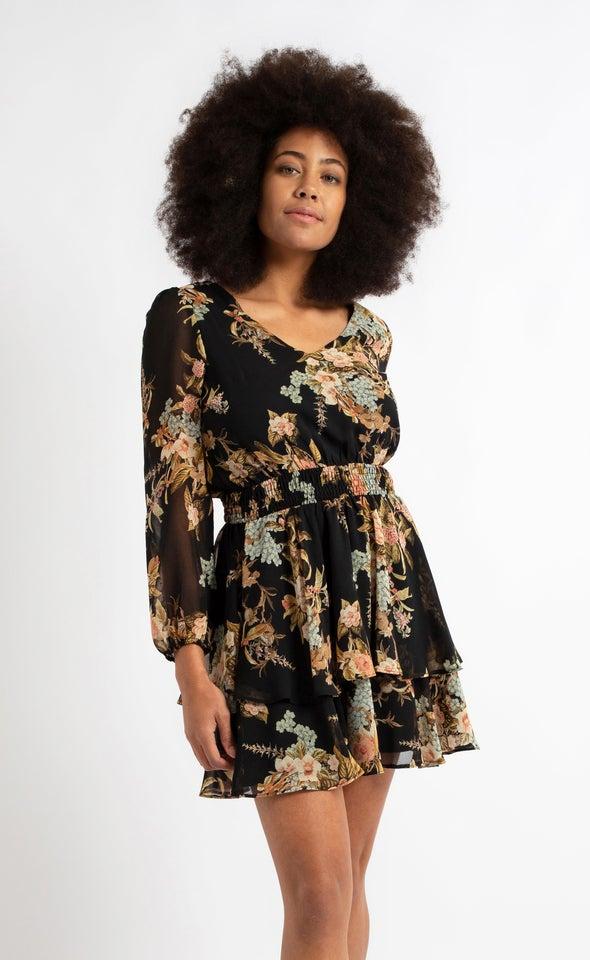 Chiffon V Neck Shirred LS Dress Black/floral