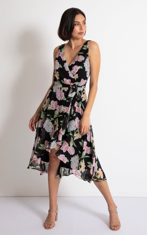 Chiffon V Neck Wrap Dress Black/floral
