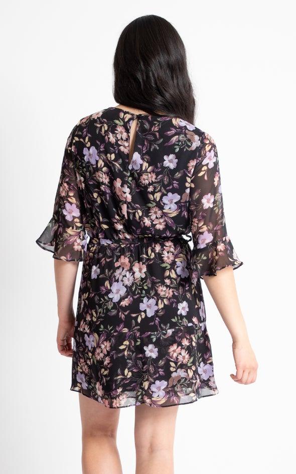 Chiffon Waterfall Ruffle Dress Black/purple