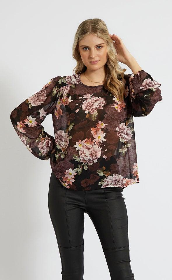 Chiffon Yoke Detail LS Top Black/floral