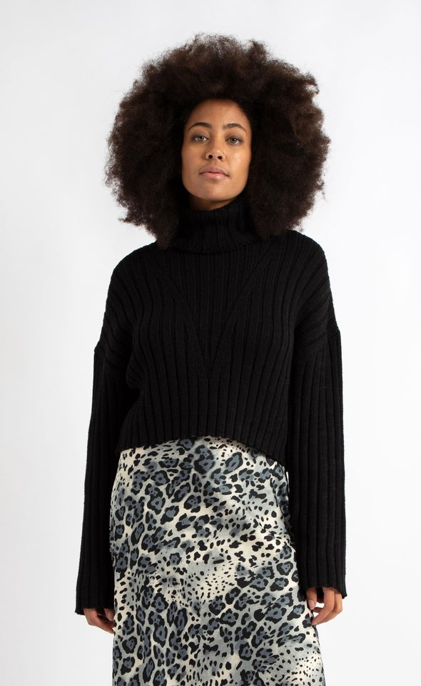 Chunky Rib Wide Sleeve Sweater Black