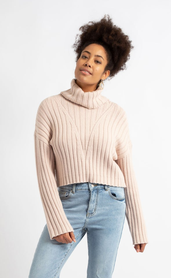 Chunky Rib Wide Sleeve Sweater Blush