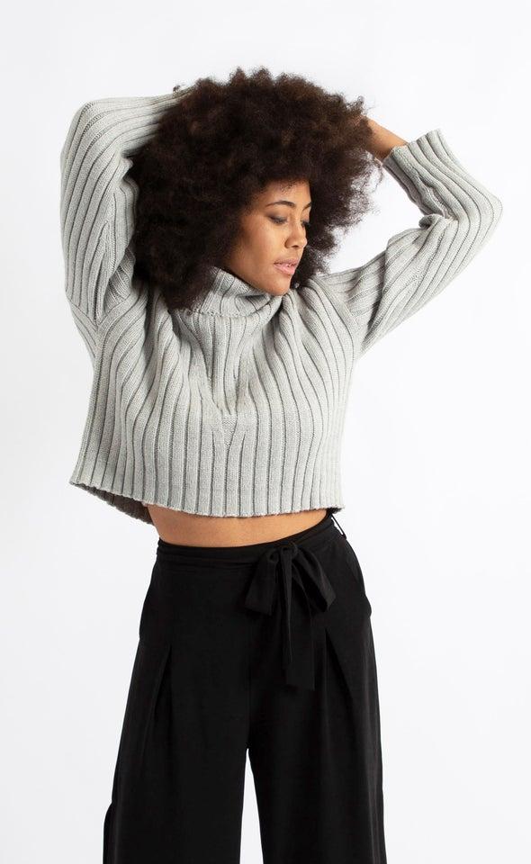 Chunky Rib Wide Sleeve Sweater Grey Marle