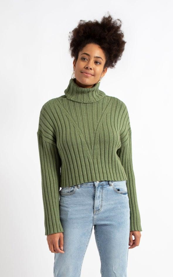 Chunky Rib Wide Sleeve Sweater Khaki