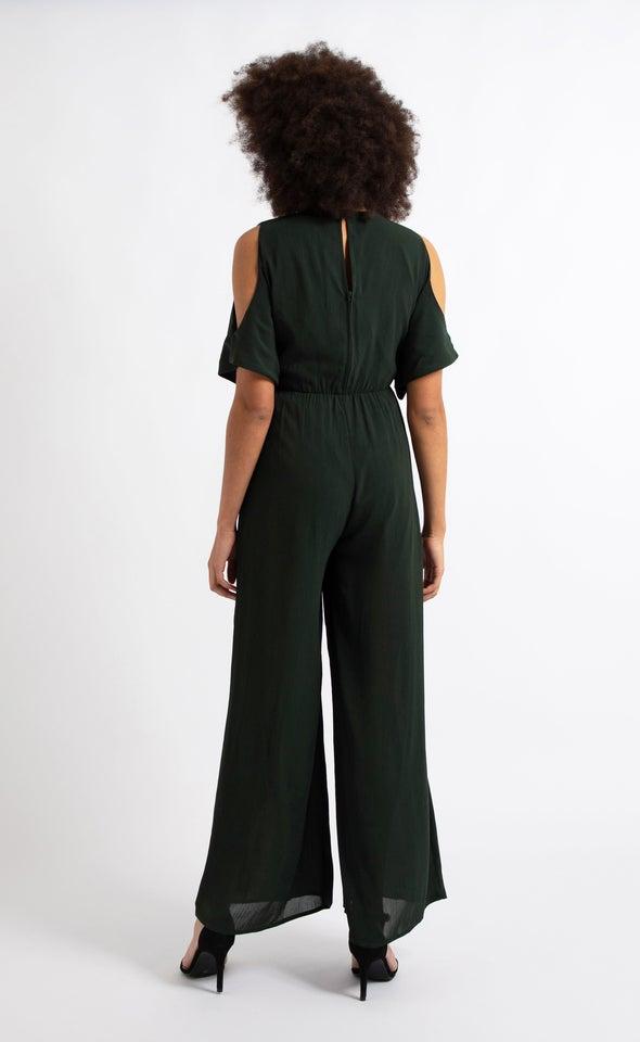 Cold Shoulder Jumpsuit Emerald