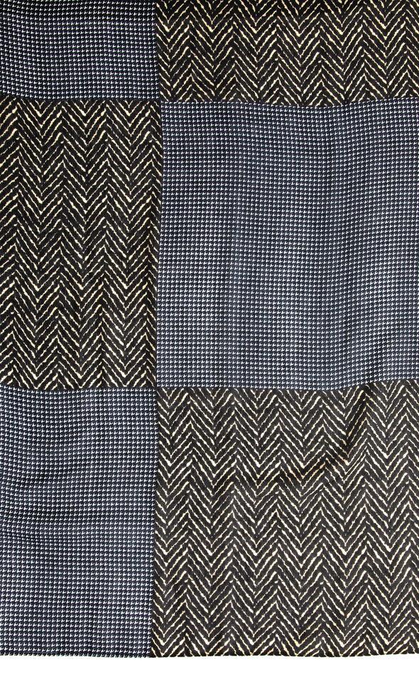 Contrast Panel Scarf Grey/black