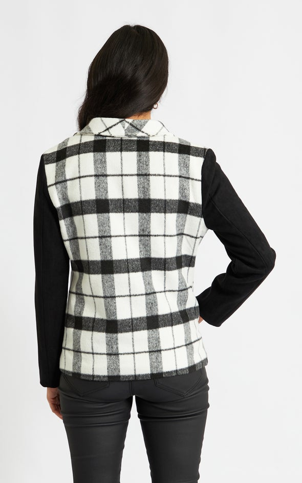 Contrast Sleeve Checked Jacket Blk/white