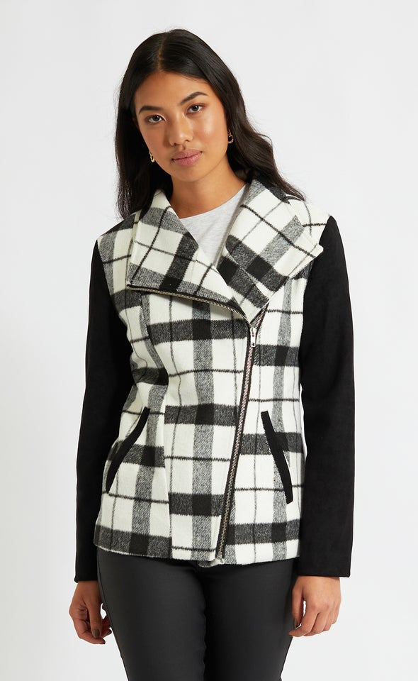 Contrast Sleeve Checked Jacket