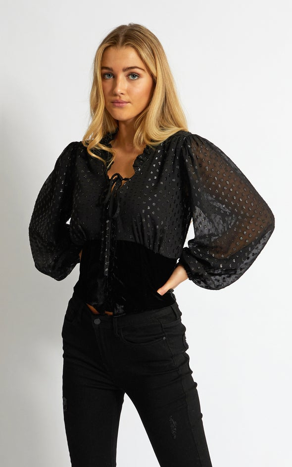 Corset Detail Printed Shirt Black