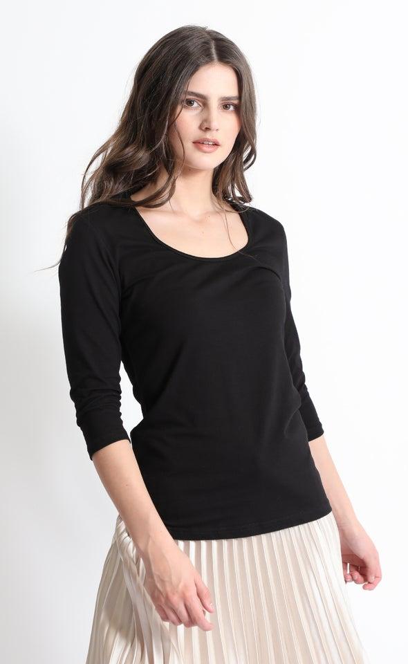 Cotton Spandex 3/4 Sleeve Scoop Top Black