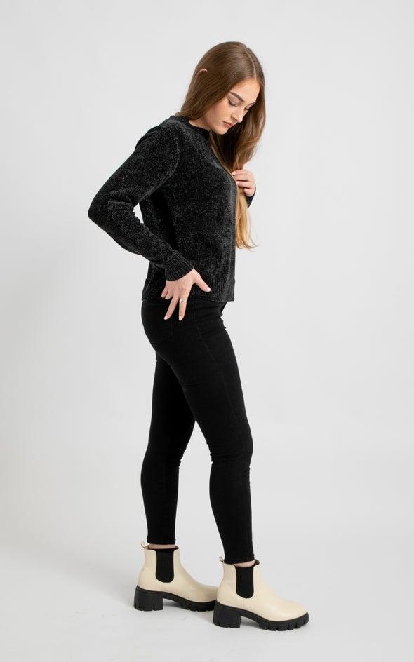Crew Neck Chenille Sweater Black