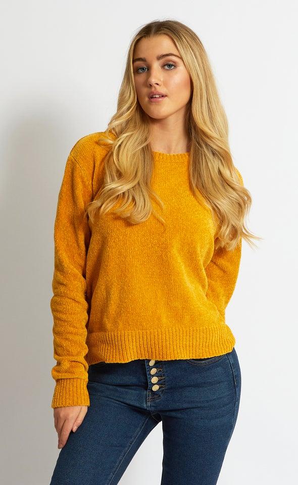 Crew Neck Chenille Sweater Cheddar