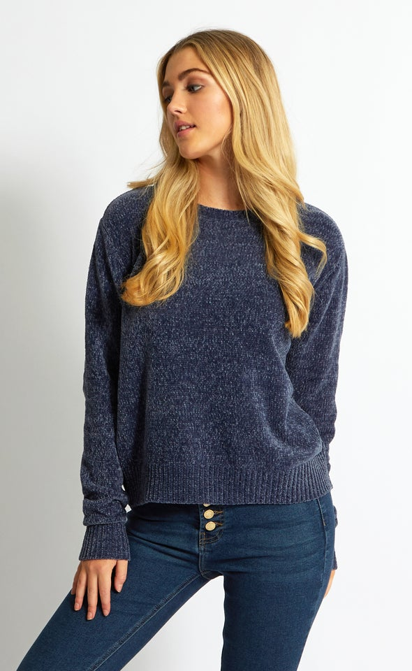 Crew Neck Chenille Sweater Denim