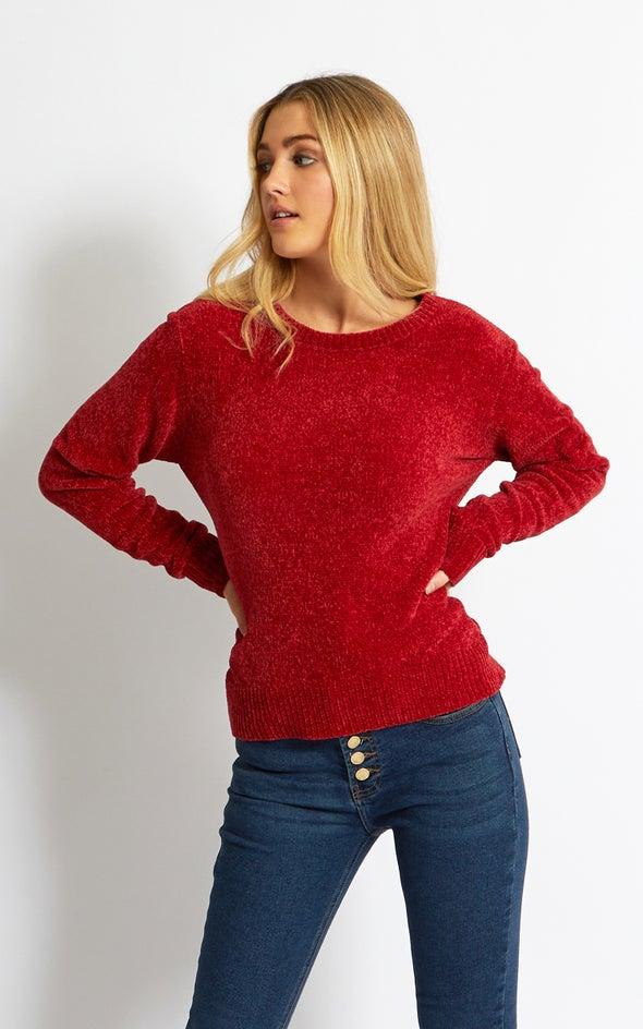 Crew Neck Chenille Sweater Maroon