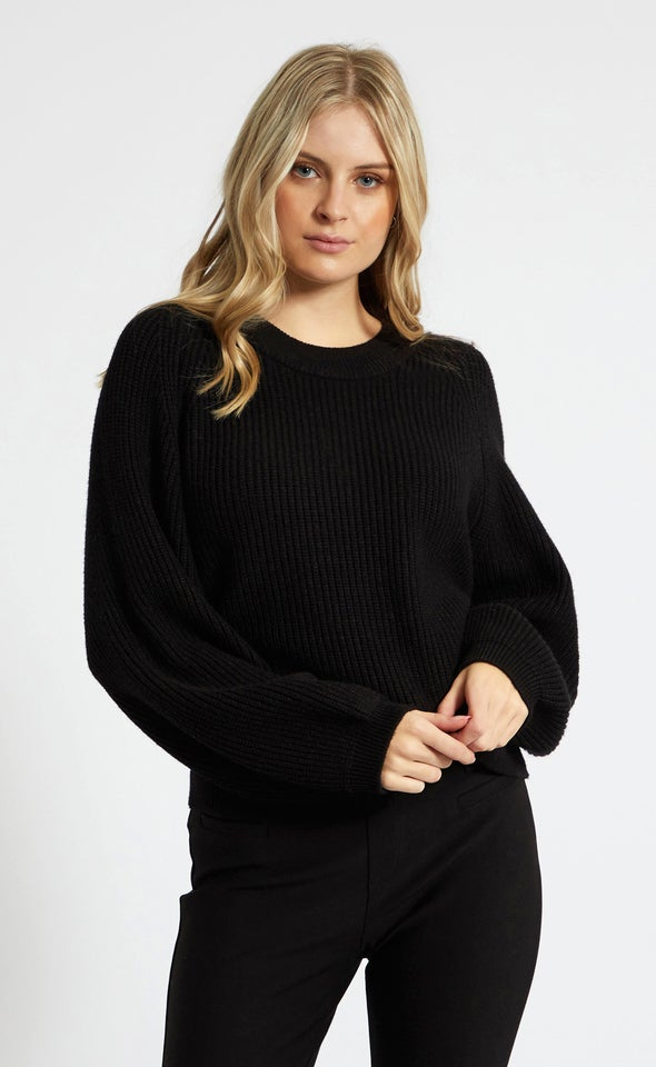 Crew Neck Rib Sweater Black