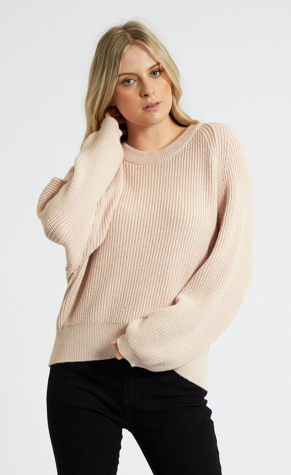 Crew Neck Rib Sweater Blush