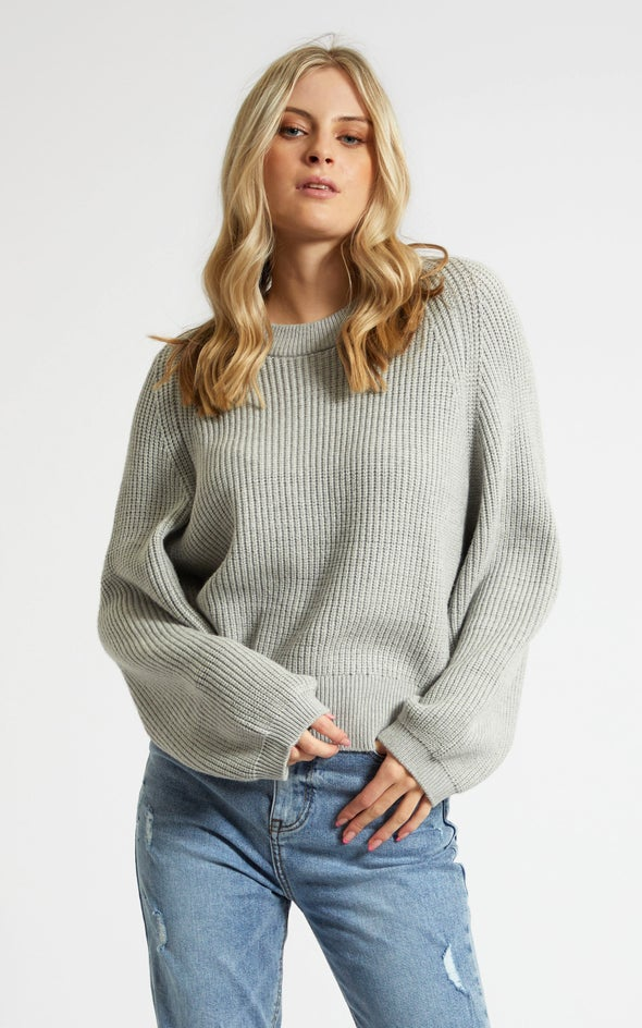 Crew Neck Rib Sweater Grey Marle