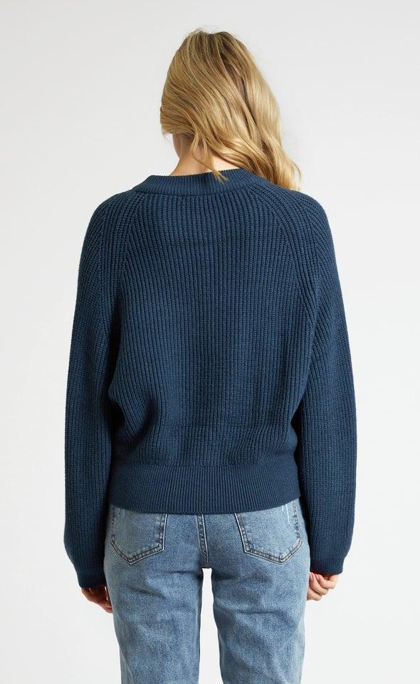 Crew Neck Rib Sweater Ink