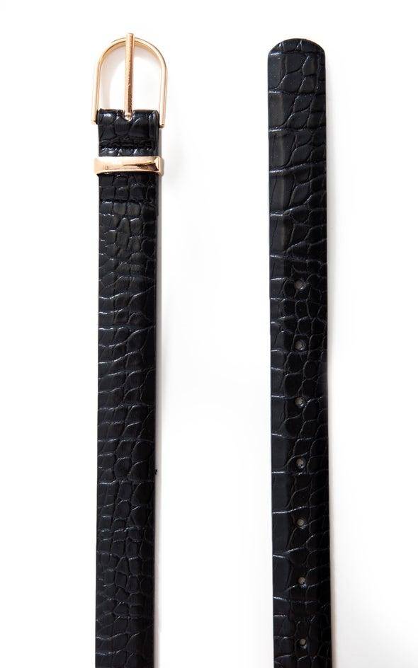 Croc Embossed Belt Gold/black