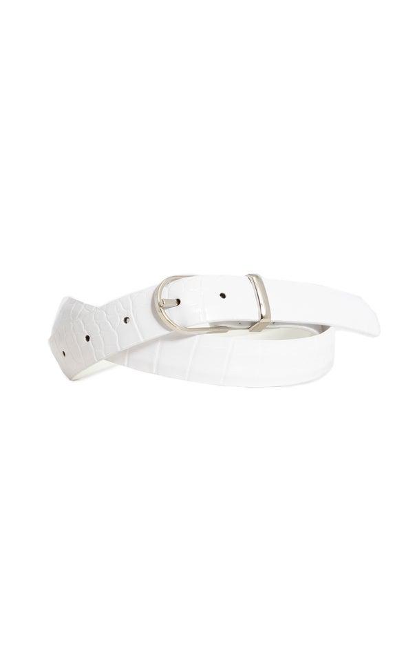 Croc Embossed Belt Silver/white