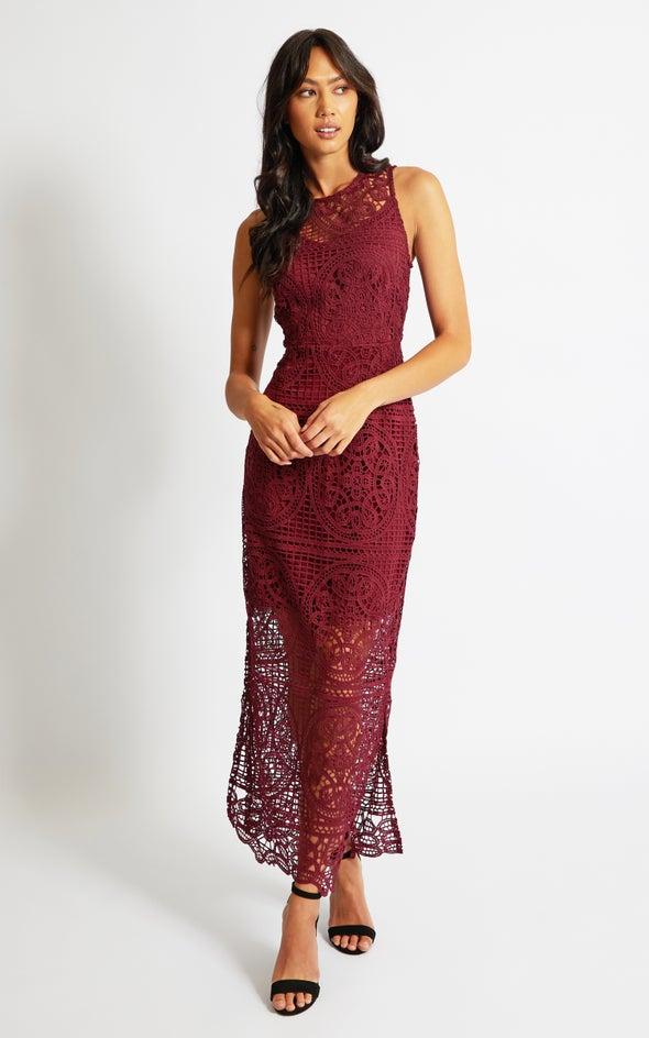 Crochet Lace Maxi Dress Maroon
